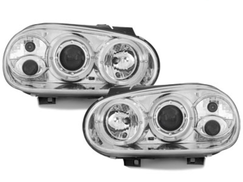 headlights VW Golf IV 97-04 _ 2 halo rims _ chrome