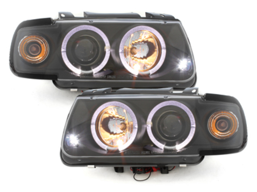 headlights VW Polo 6N 95-98 _ 2 halo rims _ black