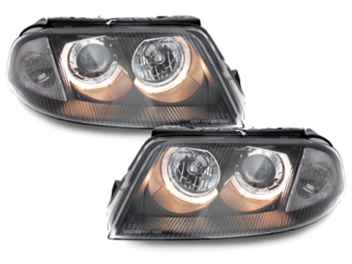 headlights VW Passat 3BG 00-04 _ 2 halo rims _ black